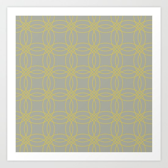 Simply Vintage Link in Mod Yellow on Retro Gray Art Print