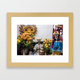 Day of the Dead Altar with Skeleton Couple & Tarot Cards Framed Art Print