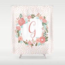 Monogram G - cute girls coral florals flower wreath, coral florals, baby girl, baby blanket Shower Curtain