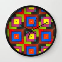 frames Wall Clocks featuring Colorful Frames by Sara Dowling