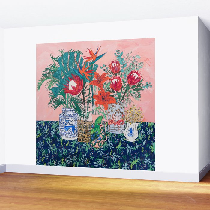 The Domesticated Jungle - Floral Still Life Wall Mural