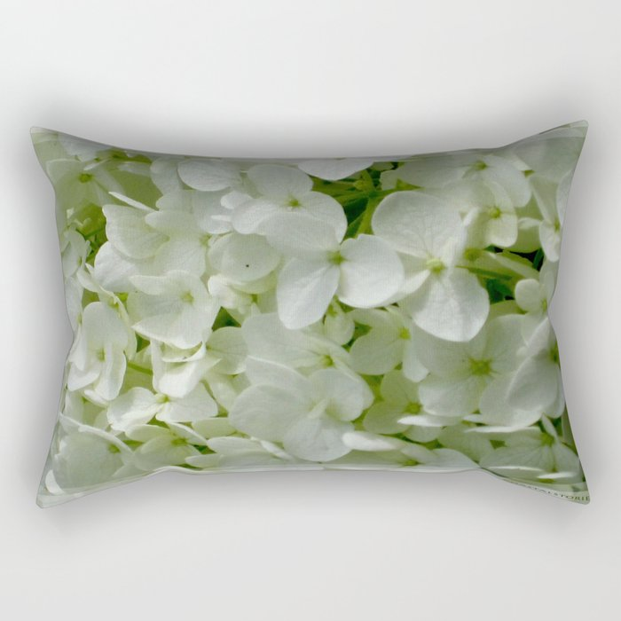 White Hydrangia Blossom Rectangular Pillow