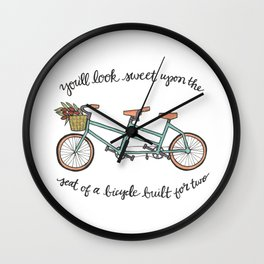 Bicycle Built For Two | Tandem Bike Basket Flowers Lettering Wall Clock