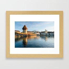 Chapel Bridge in Luzern with Pilatus in the Background, Switzerland Framed Art Print