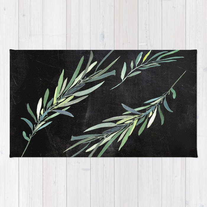 Eucalyptus leaves on chalkboard Rug