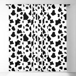 Cow skin, animal fur print, black and white pattern Blackout Curtain