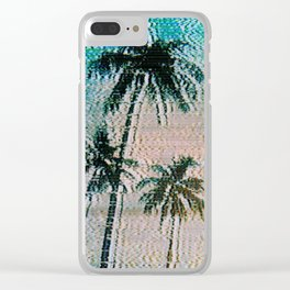 Analogue Glitch Palm Trees Sunrise Clear iPhone Case