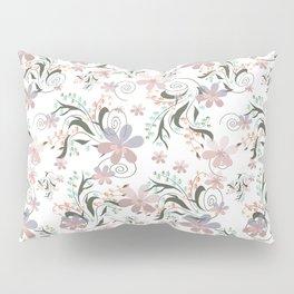 Pink blue flowers .22 Pillow Sham