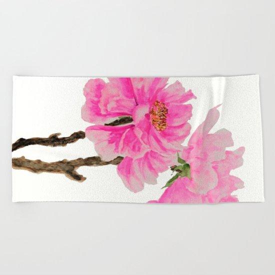 two pink peonies watercolor Beach Towel