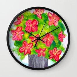 Pewter Vase with Orange Flowers Wall Clock