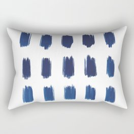 Indigo Abstract Brush Strokes | No. 6 Rectangular Pillow