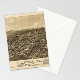 Aerial View of Greenville, Texas (1886) Stationery Cards