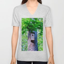 Old Bird House On A Large Larch Tree In Spring. Fresh Green Leaves And Needles Unisex V-Neck