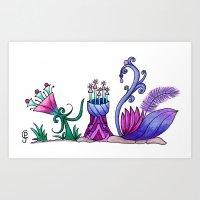Violet Swan Art Print