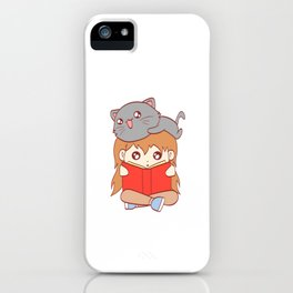 Cat Kid Reading Book Nerd Study School Current Mood Cat Read Learn Book Library Feline Claw Claws iPhone Case