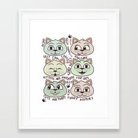 kittens Framed Art Prints featuring Kittens by Artificial primate