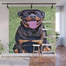 Happy Rottweiler Wall Mural