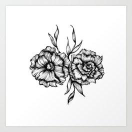 Two Inked Flowers Art Print