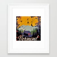 vermont Framed Art Prints featuring Vermont by Redbirchstudio