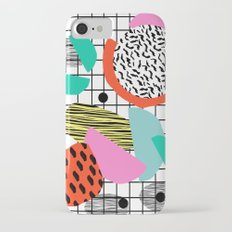 Posse - 1980's style throwback retro neon grid pattern shapes 80's memphis design neon pop art iPhone 7 Slim Case