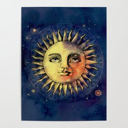 Celestial Antique Sun And Sky Watercolor Batik Poster