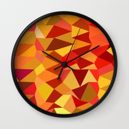 Coquelicot Red Abstract Low Polygon Background Wall Clock