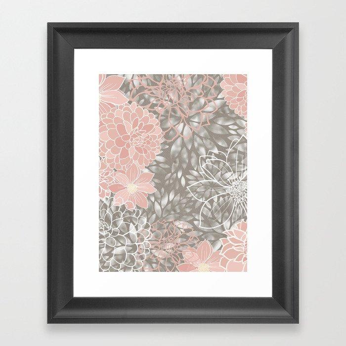 Floral Pattern Dahlias, Blush Pink, Gray, White Gerahmter Kunstdruck