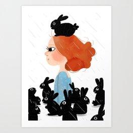 The Black Bunny Collector Art Print