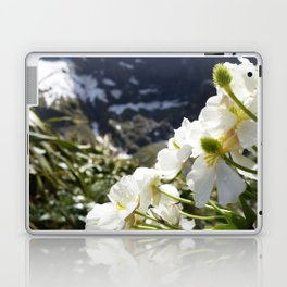 White Flowers and Mountain Pass (Milford Sound) Laptop & iPad Skin