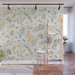 Australian wattle and eucalyptus watercolor floral Wall Mural