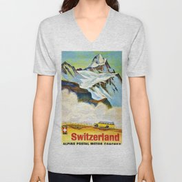 Switzerland Alpine Postal Motor Coaches Vintage Travel Poster Unisex V-Neck