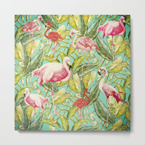 Aloha- Tropical Flamingo Bird and Palm Leaves Garden by #UtArt Metal Print