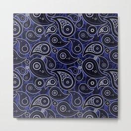 Navy Blue Paisley Pattern Metal Print