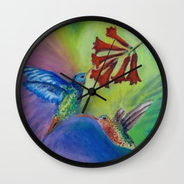 Whimsical Hummingbirds Wall Clock