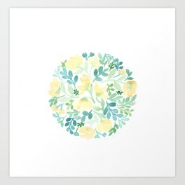 Yellow and Blue Floral Circle Art Print