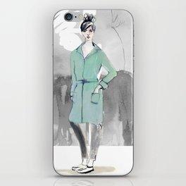 Woman in Green Coat iPhone Skin