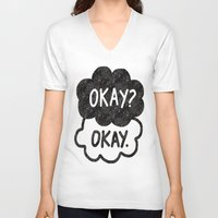 tfios V-neck T-shirts featuring OKAY?OKAY THE FAULT IN OUR STARS TFIOS HAZEL AUGUSTUS CLOUDS by monalisacried