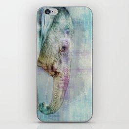 Gentle Blue Grunge Paint Elephant Digital Art iPhone Skin