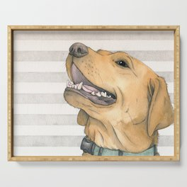 Watercolour dog portrait with stripes Serving Tray