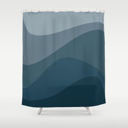 Abstract Color Waves - Blue Palette Shower Curtain