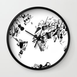 world map music black and white 1 Wall Clock