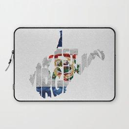 West Virginia Typographic Flag Map Art Laptop Sleeve
