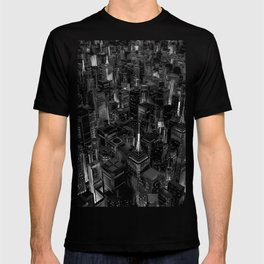 Night city glow B&W / 3D render of night time city lit from streets below in black and white T-shirt