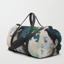 Moral Eclipse (colorful hair woman with moths tattoos) Duffle Bag