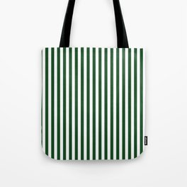 Original Forest Green and White Rustic Vertical Tent Stripes Tote Bag