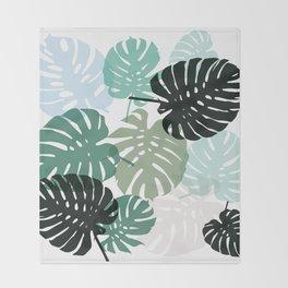 Tropical Monstera - green Throw Blanket