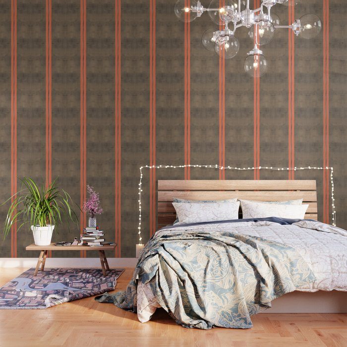 Vintage Hipster Retro Design - Brown Leather with Gold and Orange Stripes  Wallpaper