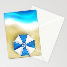 Couple of umbrellas on the beach, graphic art Stationery Cards