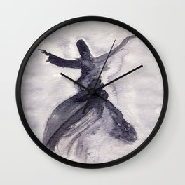 whirling dervish - sufi meditation - ink wash Wall Clock