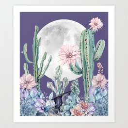 Desert Cactus Full Moon Succulent Garden on Purple Art Print